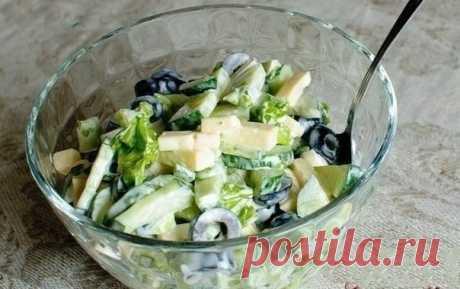 Как приготовить огуречный салат с маслинами и сыром - рецепт, ингридиенты и фотографии