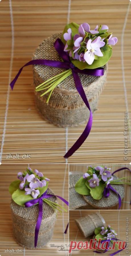 Шкатулка ,,Лесные фиалки,,(цветы из фоамирана) - Nebka.Ru