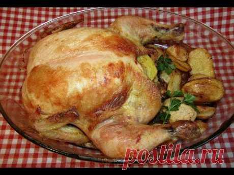 Курица, запеченная с картофелем в духовке   Страна Мастеров