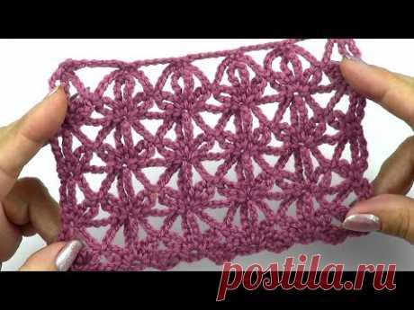 Ажурный узор Звездочки из цепочек   Openwork pattern Stars from chains