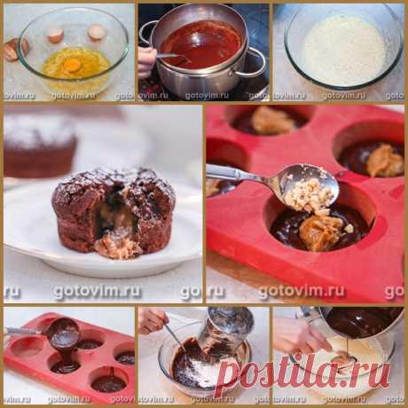 Шоколадные кексы-брауни с карамельной начинкой