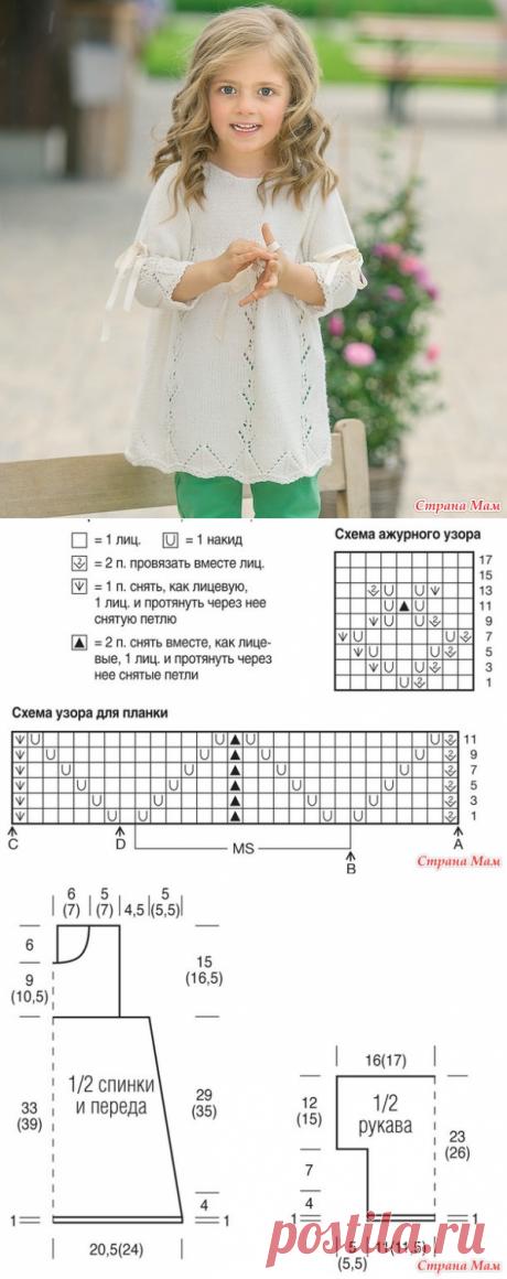 Туника с лентами для девочки - Вязание спицами - Страна Мам