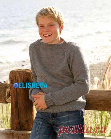 Простое вязание для начинающих: пуловер с регланом для мальчика от 5 до 14 лет