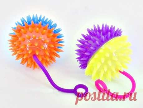 Купить Мяч Ежик №Z0309  на резинке/d-6,5 /свет, звук/блок 24шт, арт.Z0309