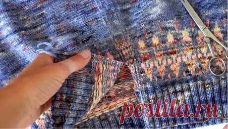 Кофта на молнии: как ее сделать из кругового пуловера реглан. Режу свитер! | Первый вязальный! | Яндекс Дзен