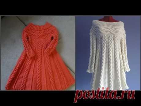 """Вязаное платье спицами, в стиле """"Шамони""""_ Часть первая. Схема.knit dress - YouTube"""