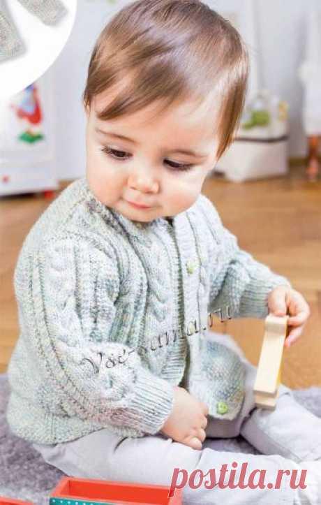 Жакет с косами на малыша 2 лет