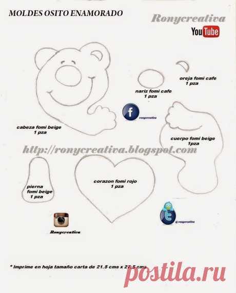 moldes de osos con corazón partido