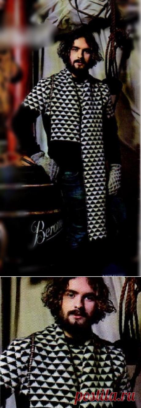 Шарф с орнаментом | Снуд, шарф, палантин, бактус, пелерина.