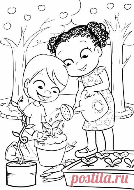 Дети поливают цветок