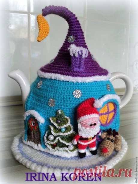 """Купить Грелка на чайник. """"Новогодняя сказка"""" - комбинированный, грелка для чайника, чаепитие, для интерьера, для кухни"""