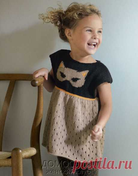 Tunic for the girl knitted spokes | the STAY-AT-HOME