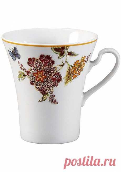 Высокая чашка, 6 штук. Изысканный рисунок.  Подходит для микроволновой печи, можно мыть в посудомоечной машине.