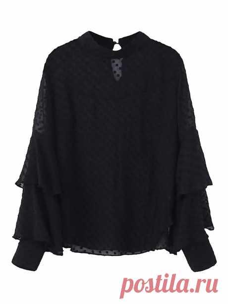 Women Sexy Polka Dot Long Sleeve Blouse Pure Color Shirt Top - US$19.99