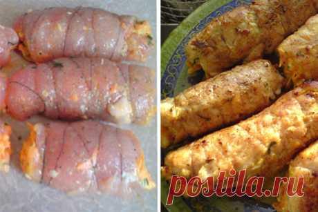Рулетики «Боярские» из куриной грудки. Нежнейшее мясо с ароматной и вкусной начинкой! Куриные рулеты «Боярские», покоряют всех своим вкусом. Сохрани этот рецепт!       Ингредиенты:   куриная грудка — 1 шт.,  морковь — 1 шт. (среднего размера),  твердый сыр — примерно 50-70 г.,  чеснок — 2-3 зубчика,  майонез,  петрушка,  соль,  перец,  растительное масло.