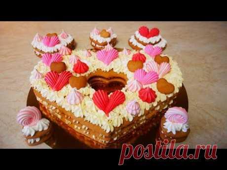 Торт в виде СЕРДЦА на День Влюблённых Торт на 14 февраля Рецепт торта и украшение