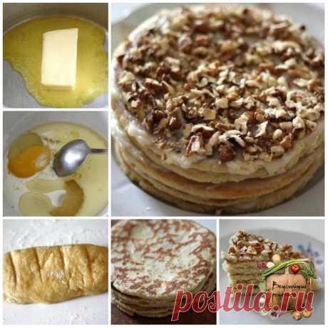 Торт на сковороде за полчаса!  Безумно вкусный тортик за полчаса. По вкусу чем-то похож на «Рыжик» и «Наполеон» вместе взятые. Этот рецепт я испробовала в разных интерпретациях и сочетаниях. Вот самый оптимальный вариант, очень рекомендую.  Ингредиенты:  Тесто: Сливочное масло – 70 гр. (1/3 пачки), Мёд – 1 ст. ложка, Сода – 0,5 ч. ложки, Сахар – 1/3 стакана, Яйцо – 1 шт., Сметана / Молоко – 1 ст. ложка, Мука – 1,5 стакана, Орехи, шоколад, печенье – по вкусу и желанию.  При...