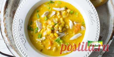 Сырный суп с кукурузой и курицей Рецепт - Сырный суп с кукурузой и курицей - с фото