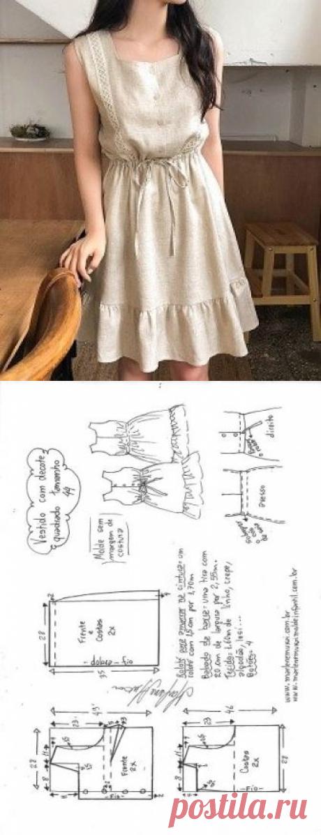 Vestido com decote quadrado e babado na barra | DIY - molde, corte e costura - Marlene Mukai