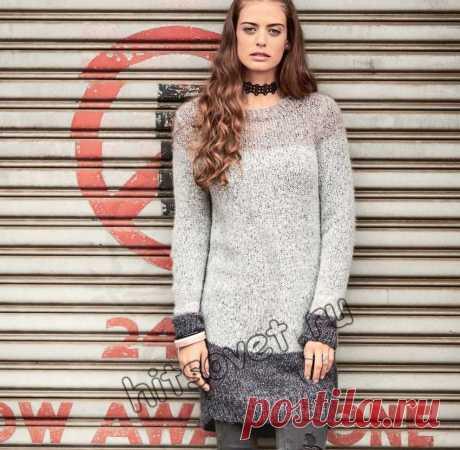 Длинный свитер - Хитсовет Модный длинный свитер для женщин с пошаговым бесплатным описанием вязания.