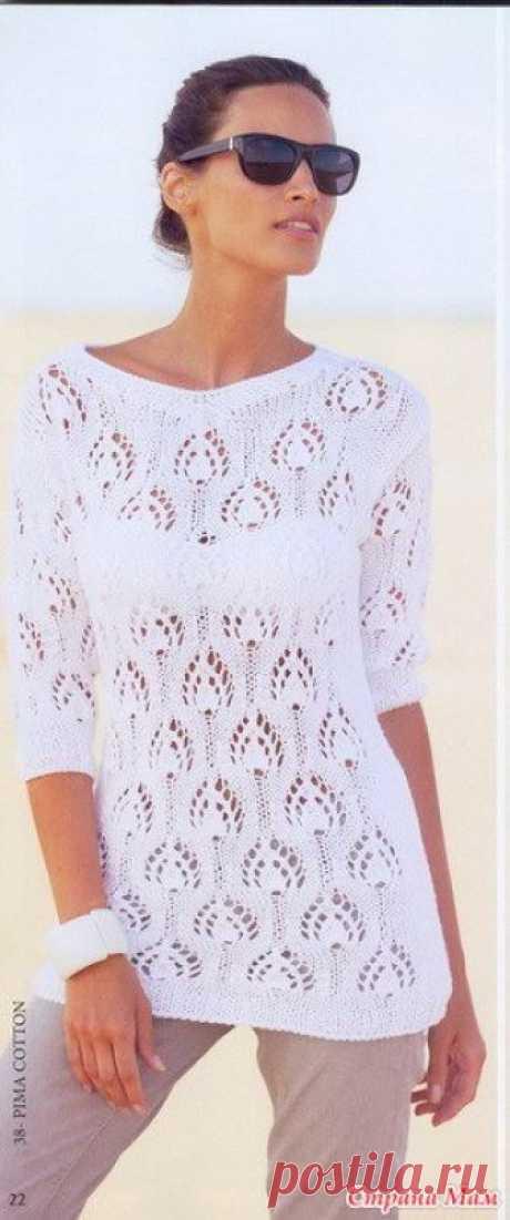 Белоснежный пуловер с ажурным узором Доброе утро, девочки!.. В центре внимания этого белоснежного пуловера - великолепный фантазийный узор по всему вязаному полотну.