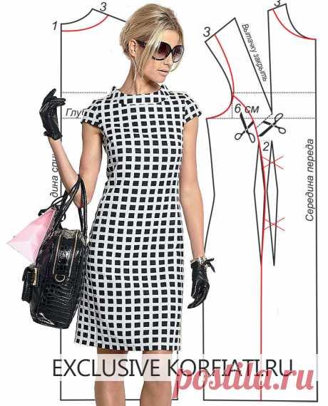 Выкройка платья с рельефами от Анастасии Корфиати Выкройка платья с рельефами. Вам очень понравится это платье с рельефами, которое выполнено из мягкой смесовой плательной ткани. Такое платье идеально