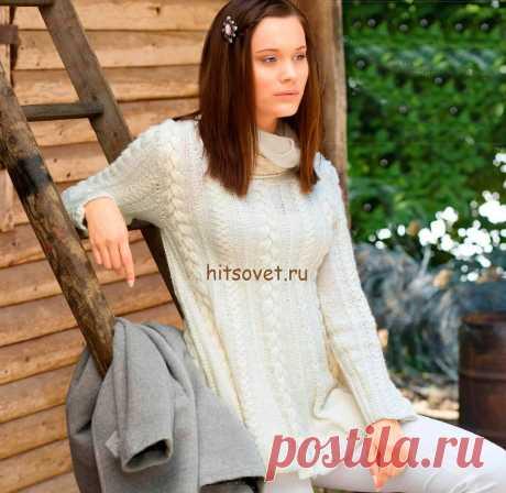 Белый пуловер с косами спицами - Хитсовет Белый пуловер с косами спицами. Модный женский пуловер сезона 2016 трапециевидной формы связан чередованием кос и резинки из белоснежной пряжи. Вам потребуется 500 (550) грамм белой пряжи, состоящая из 46% альпаки, 30% натуральной шерсти, 24% нейлона; длиной нити 240 метров в 50 граммах; спицы № 5; круговые спицы № 5.