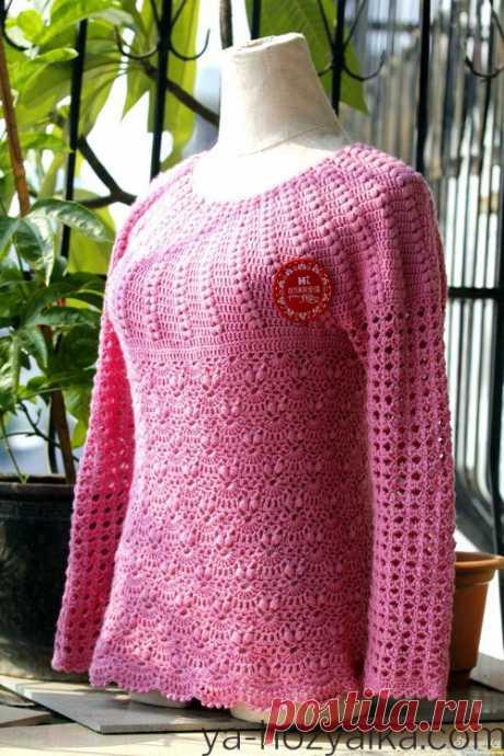 Пуловер с круглой кокеткой крючком схемы. Круглые кокетки крючком из японских журналов Розовый пуловер с круглой кокеткой крючком схемы.Круглые кокетки крючком из японских журналов