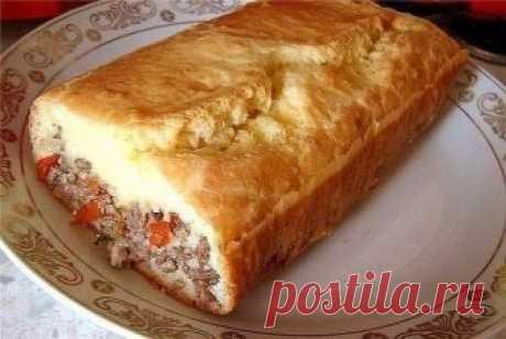 Очень вкусный и сытный вариант «Ленивого» пирога с начинкой