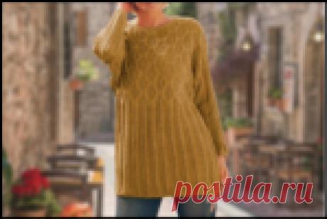 Красивый удлиненный джемпер в трех расцветках спицами, для стройных и пышных девушек (описание до 60-го размера)