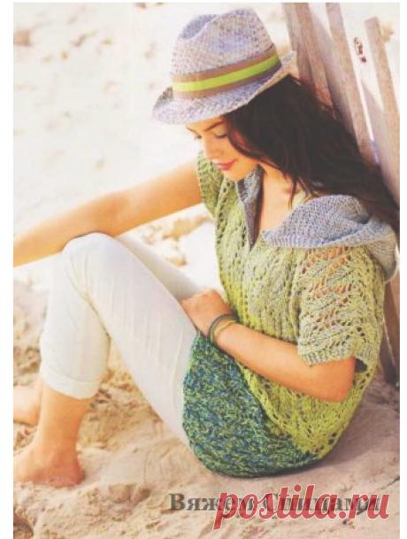Ажурный пуловер с капюшоном. Вязание спицами пуловеров для женщин