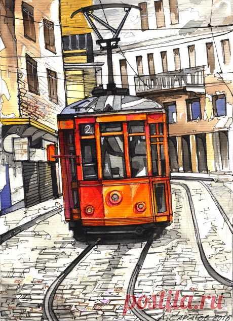 Трамвай 2017 30х20 см.бум.акв.линер