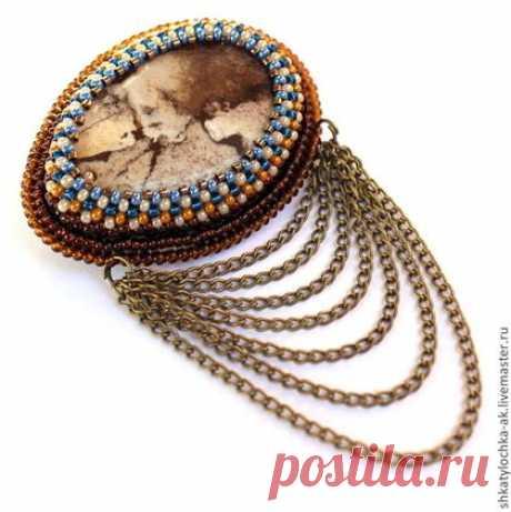 (8) Броши ручной работы. Ярмарка Мастеров - ручная работа В Стиле Джинс )) брошь с яшмой и украшением из цепочек. Handmade. | броши