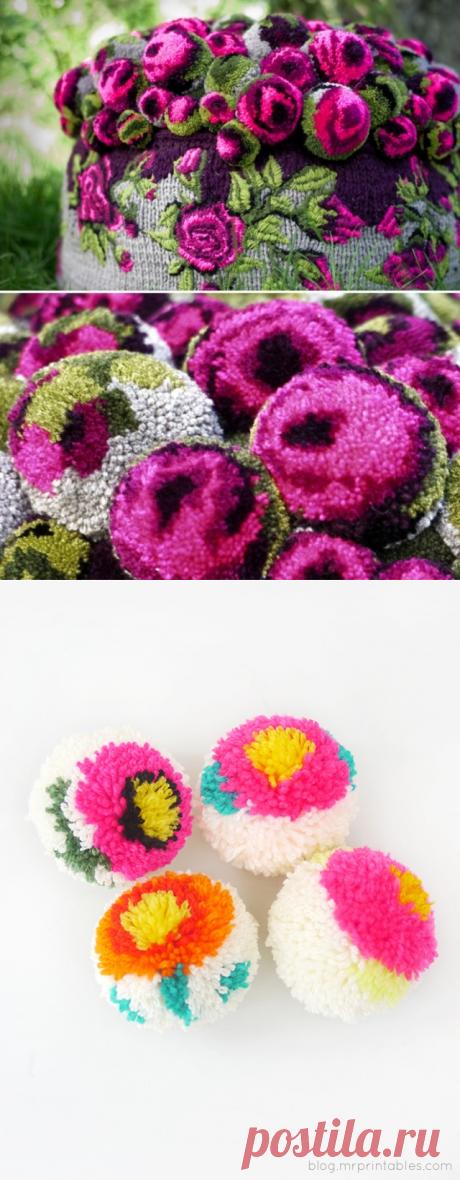 Цветы - помпоны (Diy).