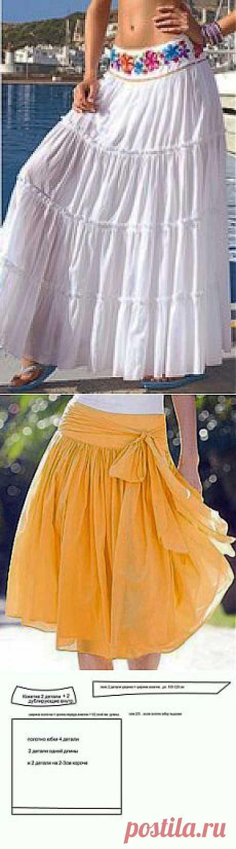 Шитье. Летние длинные юбки..