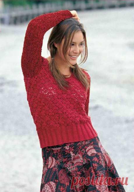 Короткий пуловер спицами и крючком с узором паутинка - Портал рукоделия и моды