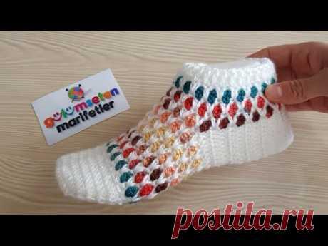 Сотовый узорный свадебный ботинок для вязания крючком