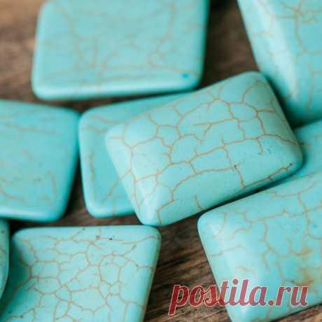 Кабошон бирюза синтетическая, прямоугольный, цвет античный голубой, 25x18x6.5 мм :: Crystal's - интернет-магазин бусин и фурнитуры