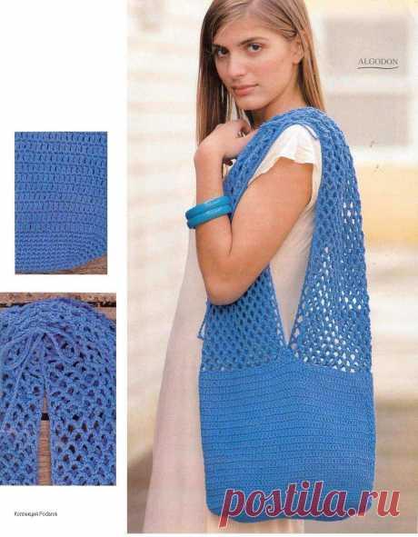 Синяя сумка-торба крючком описание - Вязанные сумки