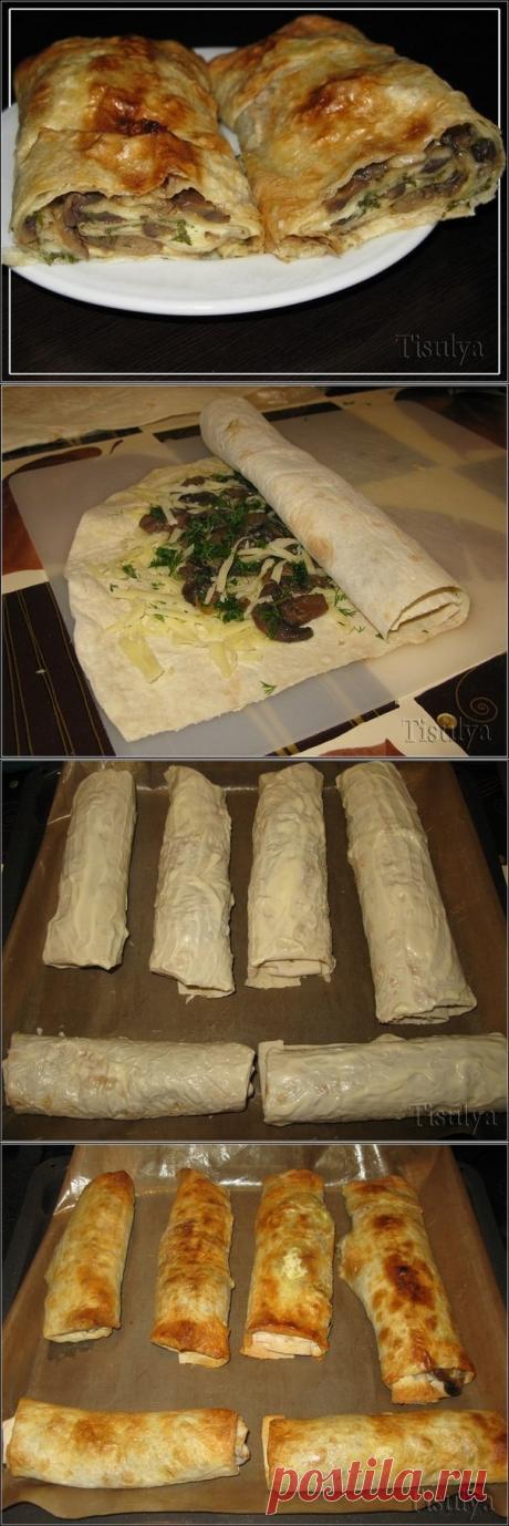 Как приготовить грибной рулет из лаваша  - рецепт, ингредиенты и фотографии