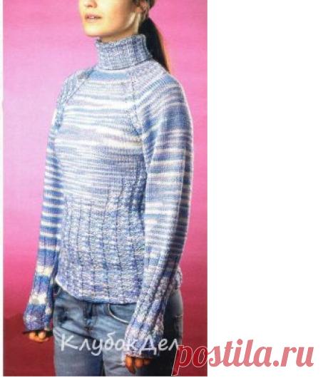Сиреневый меланжевый пуловер спицами. Вязание для женщин спицами