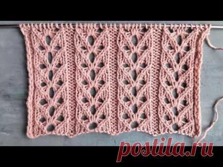 Шикарный ажурный узор спицами для вязания свитера, кардигана, палантина