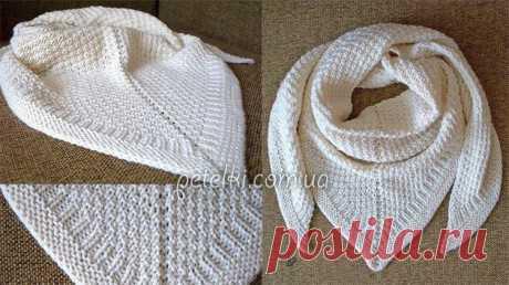 Красивая теплая шаль спицами. Описание вязания