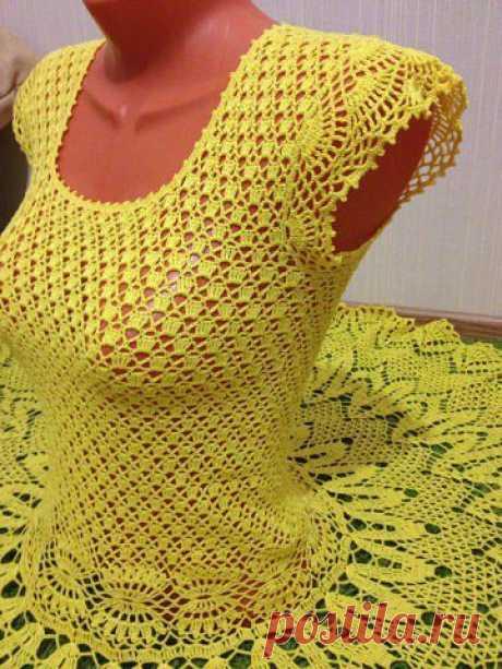 Платье - Золотой Одуванчик. Крючок.