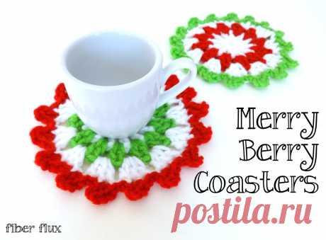 Fiber Flux: Free Crochet Pattern...Merry Berry Coasters!