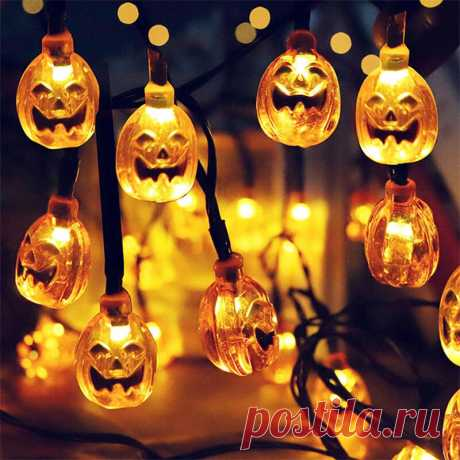 2m 10led halloween pumpkin skull led light string festival bar home party decor halloween ornament Sale - Banggood.com