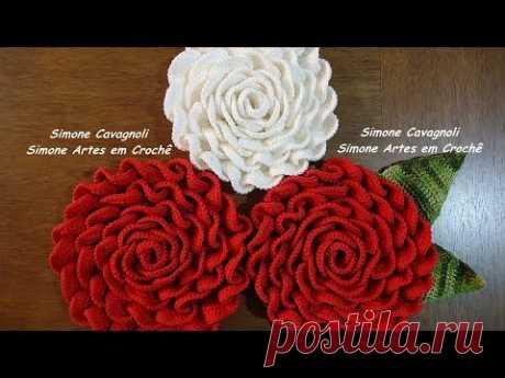 Mega Rosa!!! Simone Cavagnoli/ Simone artes em croche