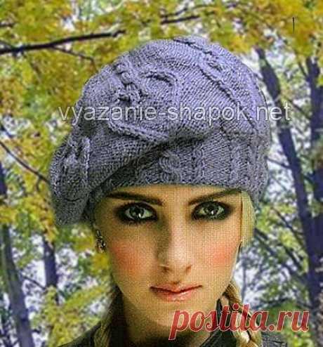 Красивый берет спицами со схемой и описанием | Вязание Шапок - Модные и Новые Модели