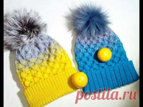 Cap with a pattern honeycombs. A cap with a gradient. Cap spokes and fur pompon. Master class.