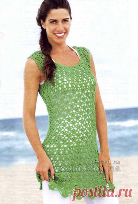 зеленая ажурная туника